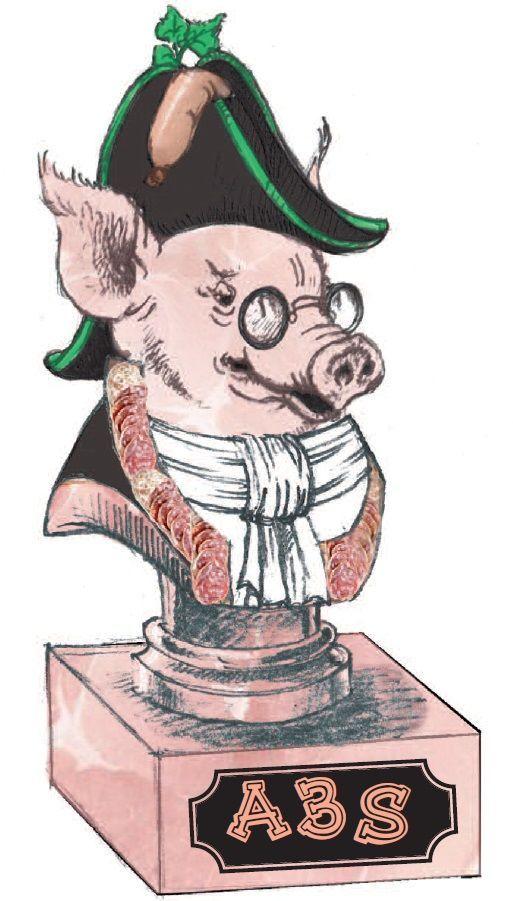 Le logo de l'Académie Ardéchoise des Amoureux du Saucisson.