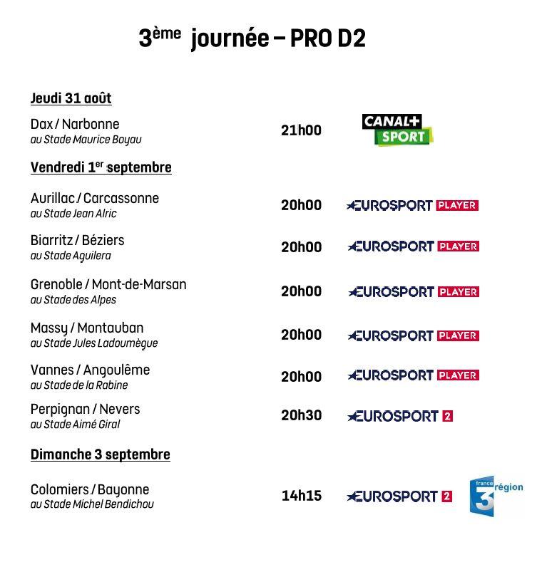 Programmation de la 3e journée de Pro D2 2017-2018