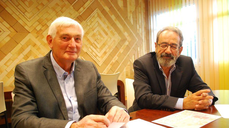 Le Maire de Bretteville-sur-Odon Patrick Lecaplain (à gauche) et Dominique Goutte Vice-Président de Caen-la-Mer