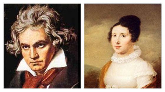 Ludwig van Beethoven et Elisabeth Roeckel (Portrait de Joseph Willibrord Mähler, environ 1814,  Düsseldorf, Goethe-Museum)