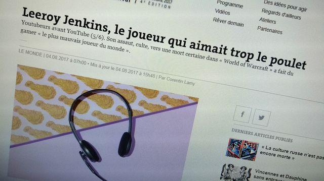 Extrait de l'article sur Leeroy Jenkins dans Le Monde - photo par Olivier Bénis