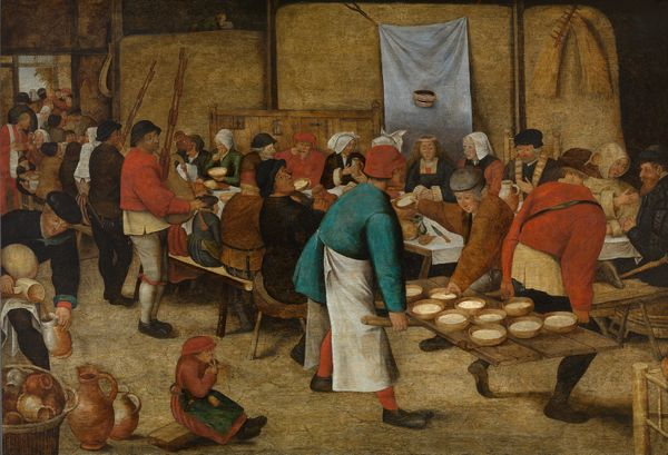 """""""Repas de Noces dans la grange"""" de Pieter II Brueghel, après 1616 (Huile sur toile: 69,9 cm x 105,2 cm), Musée des Beaux-Arts de Gand"""