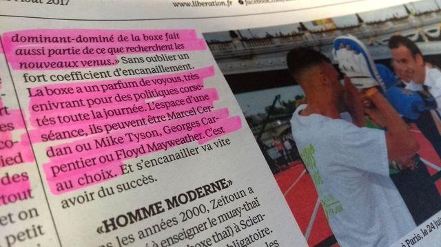 Extrait de l'article sur les politiques boxeurs dans Libération - photo par Olivier Bénis