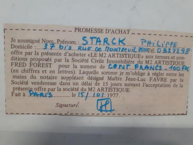 Promesse d'achat d'1 m²artistique par le designer Philippe Starck pour 100 F