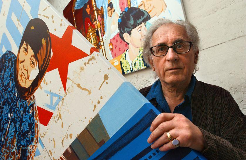 Bernard Rancillac dans son atelier à Arcueil, en 2003