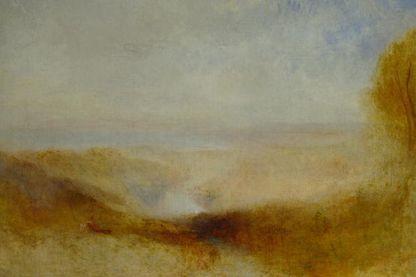 Paysage avec une rivière et une baie dans le lointain de William Turner vers 1840