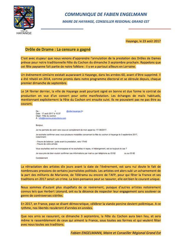 Le communiqué du Maire d'Hayange Fabien Engelmann