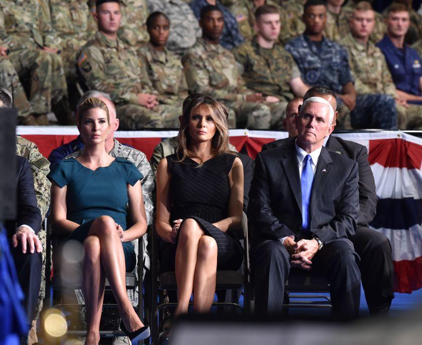 Ivanka Trump, Melania Trump et le vice président américain Mike Pence, lors du discours de Donald Trump sur sa stratégie en Afghanistan