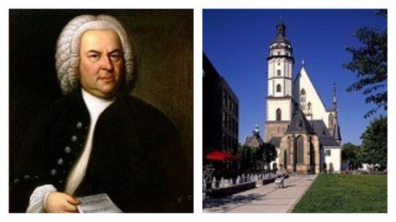Johann Sebastian Bach (portrait de  Elias Gottlob Haussmann, 1746) et Église Saint-Thomas de Leipzig