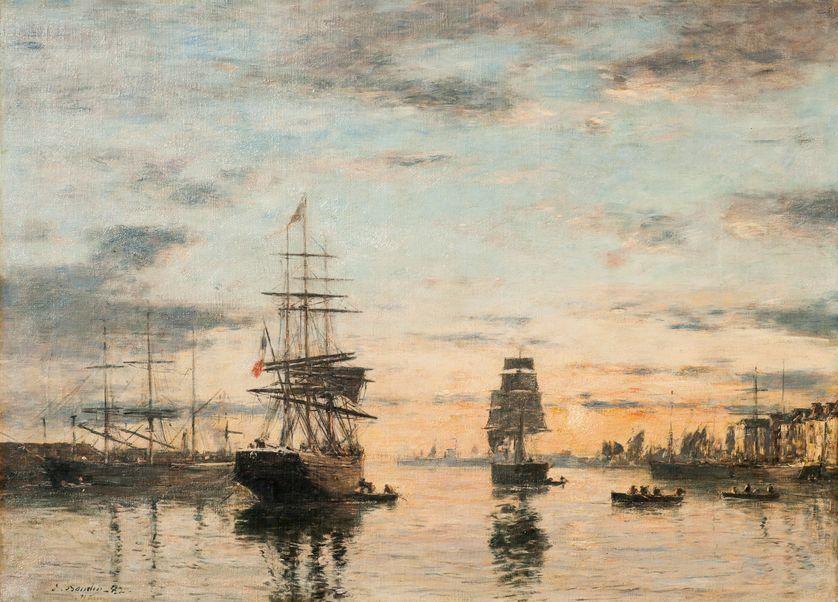 Le Havre, l'avant-port soleil couchant par Eugène-Louis Boudin, 1882