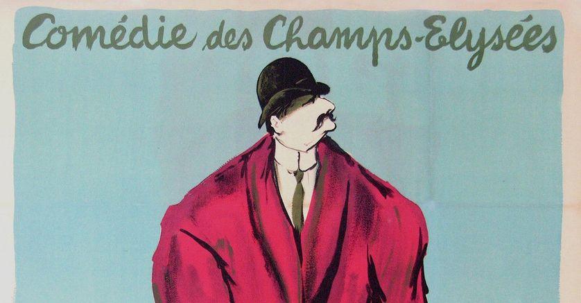 """Détail de l'affiche de la pièce de Marcel Aymé """"Clérambard"""", 1950."""