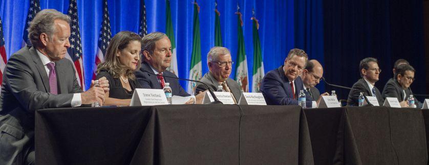 Représentants des Etats-Unis, du Canada et du Mexique, à la table des négociations, le 16 août 2017.