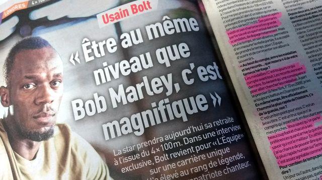 Extrait de l'interview d'Usain Bolt dans L'Équipe - phtoo par Olivier Bénis