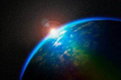 Lever de Soleil sur la Terre vu de l'espace