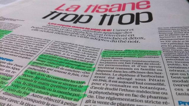 Extrait de l'article de Libération sur les tisanes - photo par Olivier Bénis