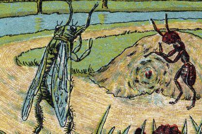 La cigale et la fourmi (Chromolithographie de la fin du 19eme siecle)