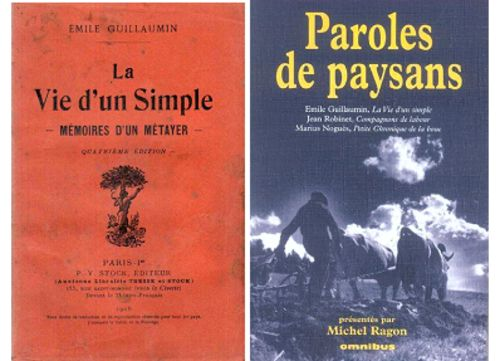 Couvertures d'ouvrage de et sur Emile Guillaumin, écrivain paysan, originaire d'Ygrande.