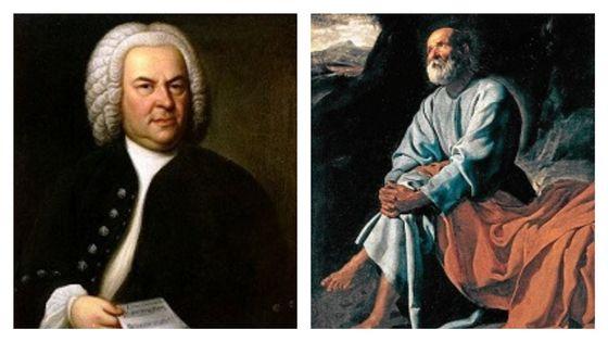 Johann Sebastian Bach (portrait de Elias Gottlob Haussmann, 1746) et Le tableau : Les larmes de Saint Pierre Diego de Vélasquez (1617-1619)