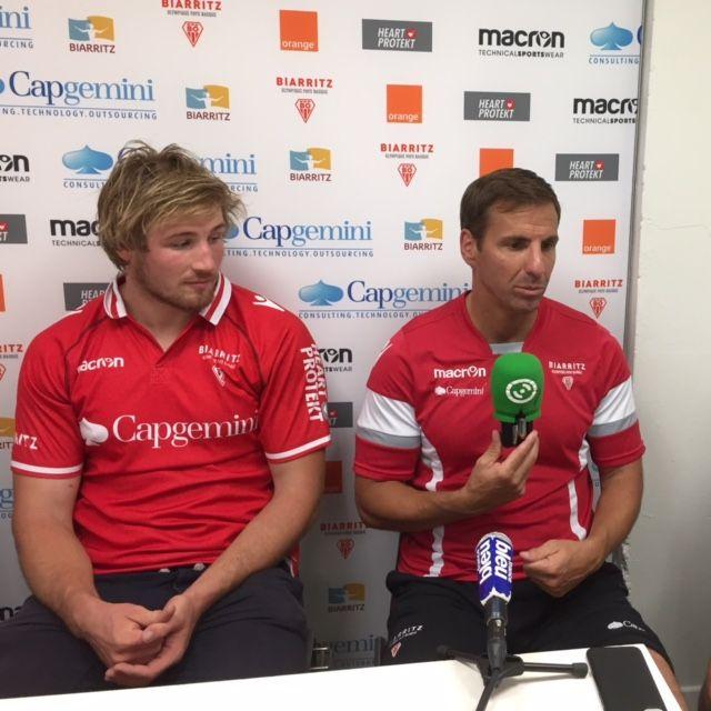 Gonzalo Quesada et Alban Placines côte à côte lors de la conférence de presse de rentrée