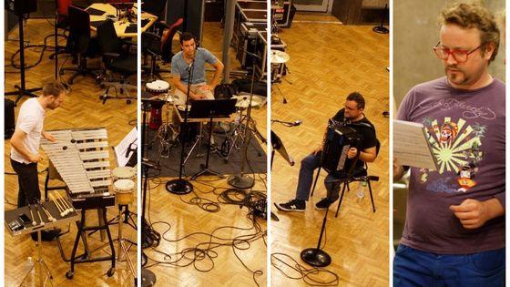 Le trio KDM et Jonathan Pontier en enregistrement au studio 107