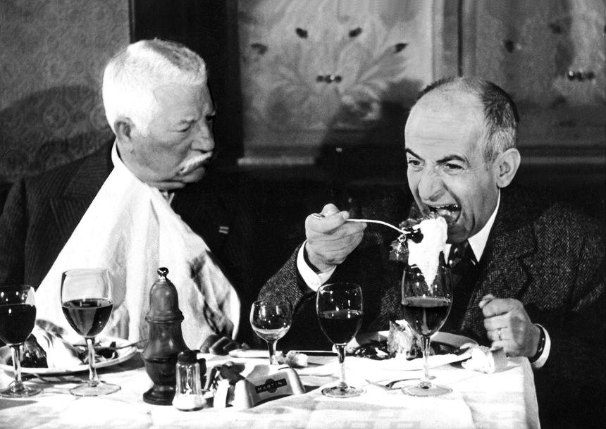 Jean Gabin et Louis de Funès dans le Tatoué
