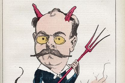 Caricature de Léo Taxil, écrivain français et auteur d'un célèbre canular qui piégeât le Pape et les évêques de France.