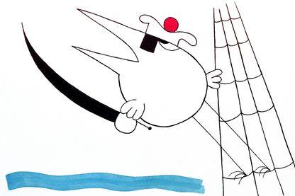 """Le marin shadok dans la deuxième série """"Les shadoks"""" créée par Jacques Rouxel"""