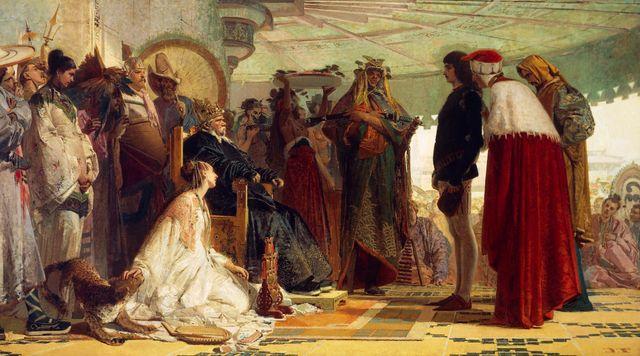 """""""Marco Polo à la cour du grand Khan"""" peint par Tranquillo Cremona (1837-1878)."""