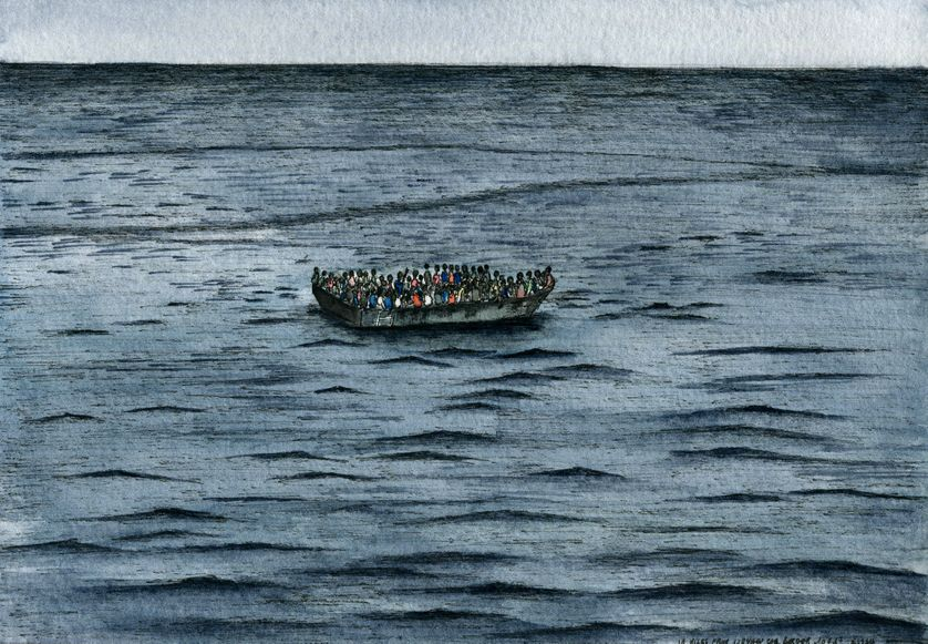 La traversée sur des bateaux type zodiac, surchargés, dure en moyenne une dizaine d'heures, selon les témoignages de migrants rencontrés en juin en Italie.