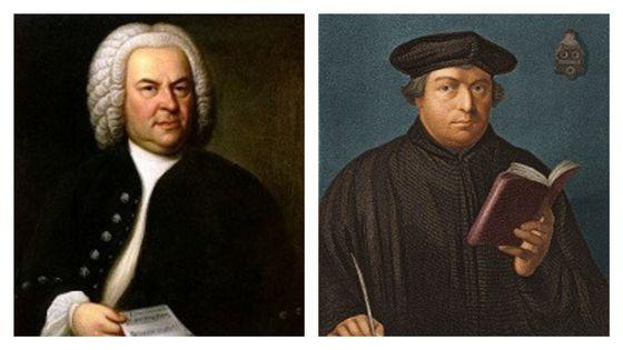 Johann Sebastian Bach (portrait de Elias Gottlob Haussmann, 1746) et Martin Luther (1520)
