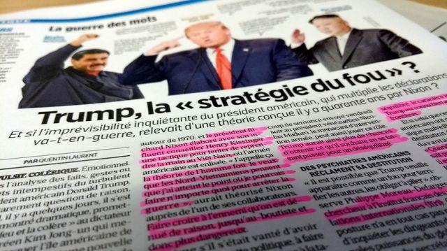 """Extrait de l'article sur """"la stratégie du fou"""" dans le Parisien - photo par Olivier Bénis"""