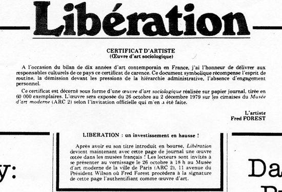 Le certificat d'authenticité de l'oeuvre d'art Libération