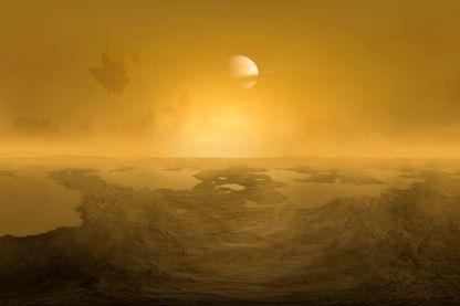 Saturne vue de la surface de Titan, vue d'artiste