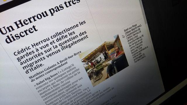 Extrait de l'article du Parisien sur Cédric Herrou - photo par Olivier Bénis