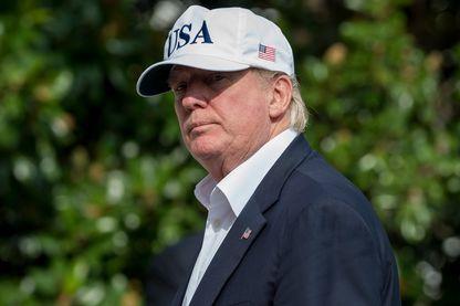Donald Trump le 27 août 2017 à son arrivée à La Maison blanche
