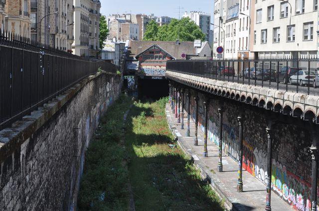La Petite Ceinture au niveau de la station Avenue Saint-Ouen