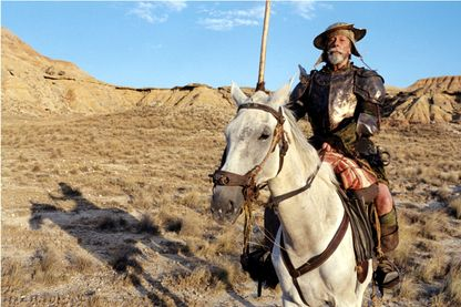 "Jean Rochefort sur le tournage de ""L'homme qui tua Don Quichotte"" de Terry Gilliam en octobre 2000."