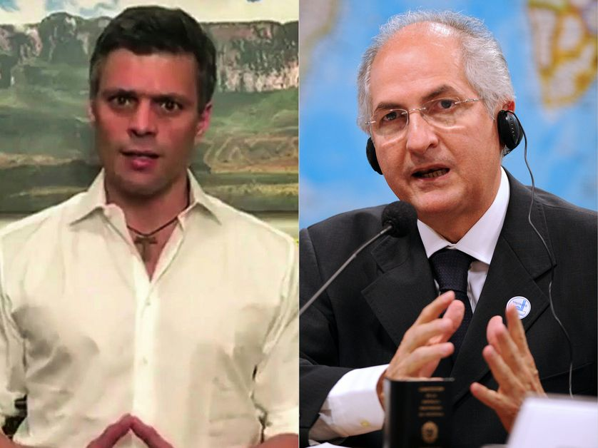 A gauche Leopoldo Lopez et à droite Antonio Ledezma, placés en détention pour avoir planifié leur évasion