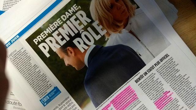 Extrait du dossier sur Brigitte Macron dans Le Parisien - photo par Olivier Bénis