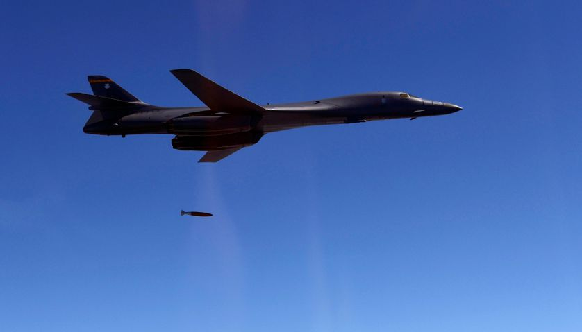 This handout photo taken on August 31, 2017 and provided by South Korean Defence Ministry in Seoul shows a US Air Force B-1B Lancer dropping a bomb at a shooting range in Gangwon Province, east of Seoul, during a joint military drill aimed to count