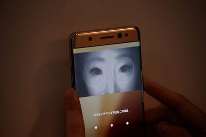 Une démonstration de reconnaissance faciale lors du lancement du Galaxy Note 7 en Corée (Août 2016)