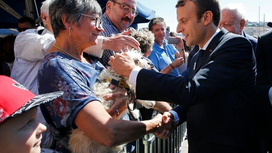Bain de foule pour Emmanuel Macron en présence de Jean-Claude Gaudin