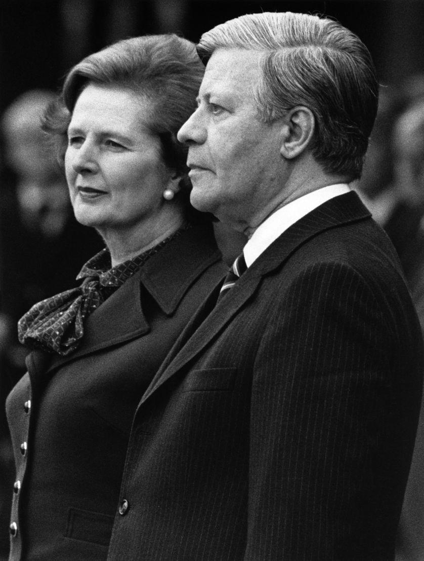 Helmut Schmidt et Margaret Thatcher en 1981