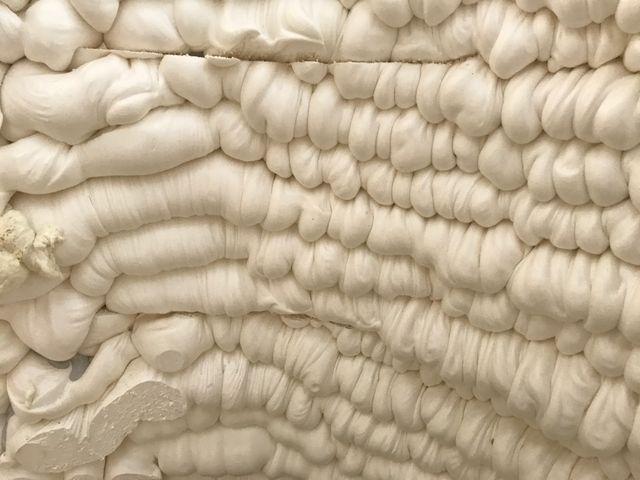 Un des murs en polyuréthane de la maison réalisé par l'imprimante