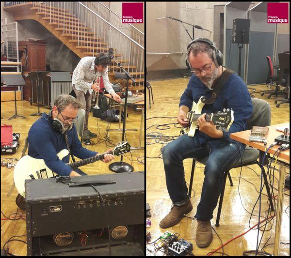 Franck Dadure et Elliot pendant les balances au studio 107