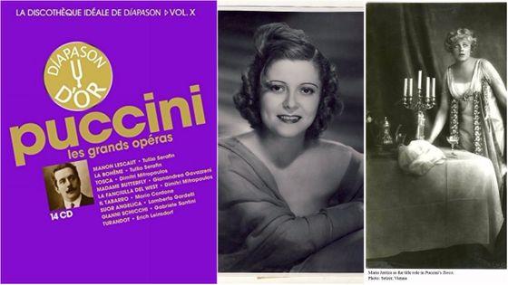 Puccini (mais pas seulement...) avec quelques interprètes légendaires. À droite, Maria Jeritza (dans Tosca), et au centre la Roumaine Maria Cebotari...