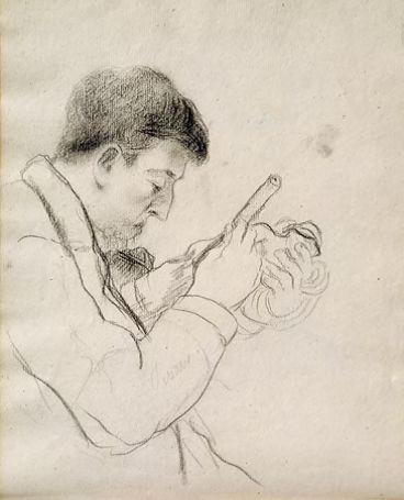 Camille Pissaro Gauguin sculptant La Parisienne 1880