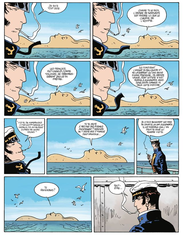 Planche d'Equatoria, episode 14 des aventures de Corto Maltese de Juan Diaz Canales et Ruben Pellejero, d'après Hugo Pratt