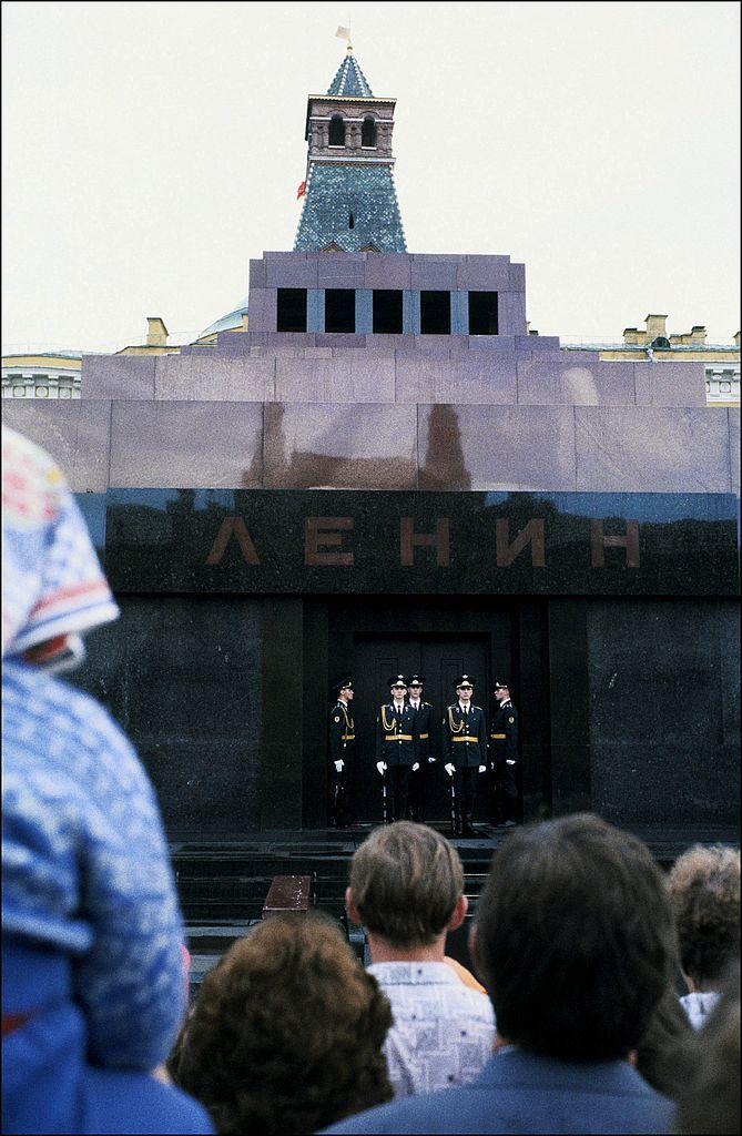 Daily life in Moscou, Russia in August, 1990 - Change of the guard at Lenin's mausoleum.