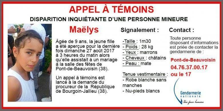 Appel à témoins pour retrouver la petite Maëlys, 9 ans, originaire du Jura et disparue en Isère.